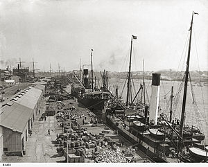 Break bulk cargo - Mixed cargo being loaded into ships at Port Adelaide circa 1927