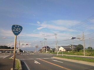 Japan National Route 245 road in Ibaraki prefecture, Japan