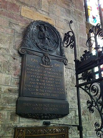Royal Army Medical Corps - RAMC World War I memorial in St Giles Cathedral, Edinburgh