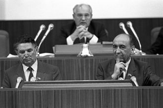 Procurator General of the Soviet Union - Alexander Sukharev (left) at the 1st convocation of the Congress of People's Deputies of the Soviet Union with investigator Telman Gdlyan (right) and Mikhail Gorbachev (center)