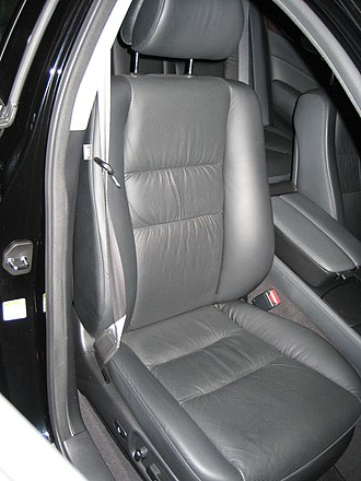 Upholstery - A typical leather-upholstered car seat.