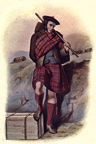 Clan MacAlister - R.R. McIan's Victorian era romanticised depiction of a sorrowful MacAlister clansman about to emigrate to Canada during the Highland Clearances.