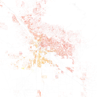Map of racial distribution in Tucson, 2010 U.S. Census. Each dot is 25 people: White, Black, Asian, Hispanic of any race or Other (yellow) Race and ethnicity 2010- Tucson (5559886439).png