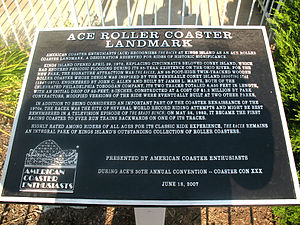 American Coaster Enthusiasts - The ACE Roller Coaster Landmark Award awarded to The Racer at Kings Island