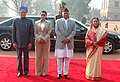 Ram Baran Yadav and his daughter Ms. Anita Yadav with the President, Smt. Pratibha Devisingh Patil and the Prime Minister, Dr. Manmohan Singh at the ceremonial reception, at Rashtrapati Bhawan, in New Delhi.jpg