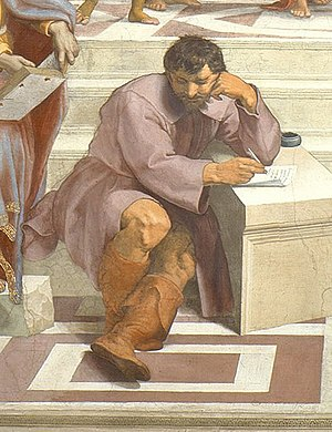 Heraclitus - Heraclitus (with the face and in the style of Michelangelo) sits apart from the other philosophers in Raphael's School of Athens.