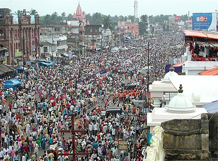 The Jagannath festivities in Puri attract crowds with no class or caste barriers. Some 19th-century writers saw this as one evidence for Buddhist origins, now a discredited theory. Rath Yatra Puri 2007 11047.jpg