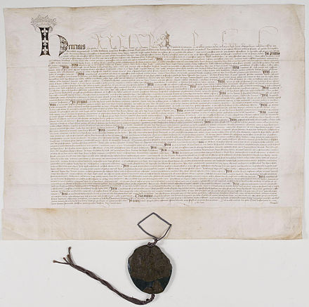 The ratification of the Treaty of Troyes between Henry and Charles VI of France. Archives Nationales (France). Ratification du Traite de Troyes 1 - Archives Nationales - AE-III-254.jpg