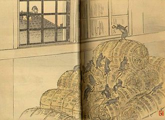 Belling the cat - A Japanese woodblock illustration of La Fontaine's fable, 1894