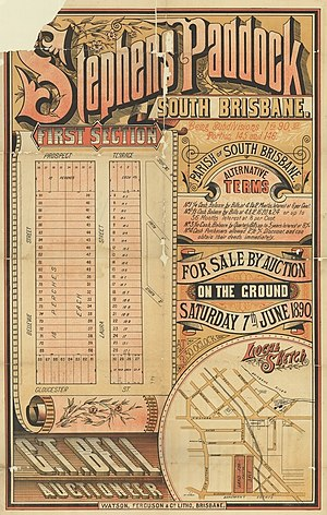Highgate Hill, Queensland - Real estate map of Stephens Paddock Estate (first section), Highgate Hill, 1890