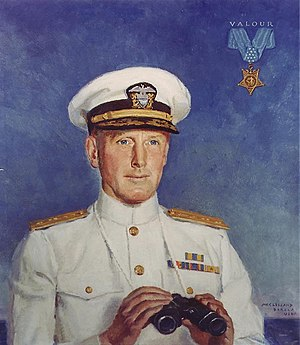 Norman Scott (admiral) - Rear Admiral Norman Scott, USN.  Painting by McClelland Barclay.