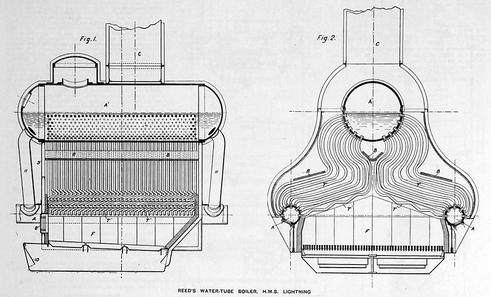 Reed water tube boiler cross sections