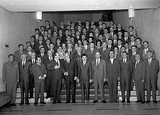 Magyar Autonomous Region - Nicolae Ceauşescu and the Mureș-Magyar Autonomous Region delegation at the IXth Congress of the Romanian Communist Party in July 1965.