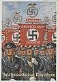 Reichsparteitag Nürnberg Ansichtskarte 1937 NSDAP Propaganda Richard BORRMEISTER Verlag Photo-Hoffmann München 37-7 Schutzstaffel SS Deutschland erwache Fahne Burg Nazi Rally Nuremberg castle Postcard No known copyright restrictions.jpg