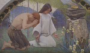 Worship - Detail from Religion by Charles Sprague Pearce (1896)
