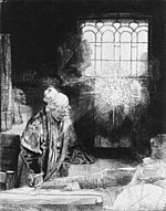 Faust depicted in an etching by Rembrandt (c. 1650). Faust, also a scholar, is depicted in the same pose as The Geographer, although facing in roughly the opposite direction. Rembrandt, Faust.jpg
