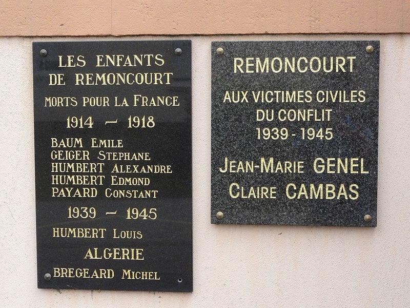 Remoncourt (M-et-M) plaques sur mairie, commémorant 3 guerres