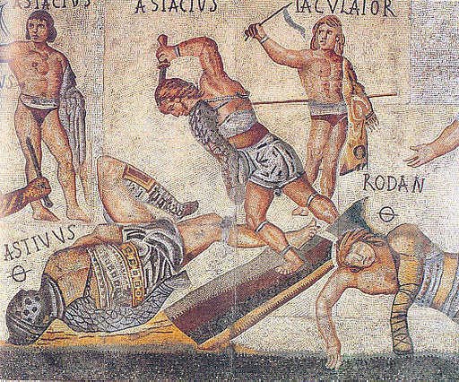 Retiarius vs secutor from Borghese mosaic