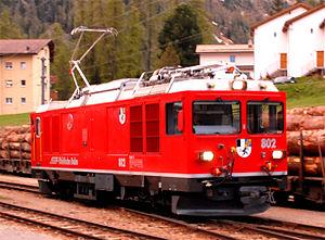 Rhaetian Railway Gem 4/4 - Rebuilt Gem 4/4 802 at Pontresina, 2010.
