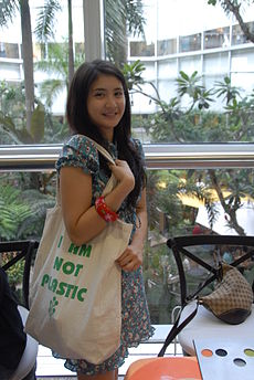 Rica and the I AM NOT PLASTIC bag.jpeg