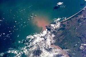 Doce River - Doce River delta at the Atlantic Ocean.