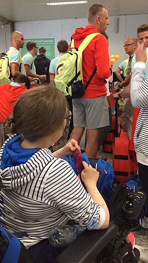 Finland at the 2016 Summer Paralympics - Finland's shooter at the Rio airport waiting for accreditation.