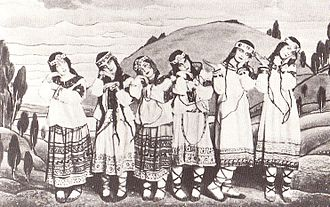 The Rite of Spring - Dancers in Nicholas Roerich's original costumes. From left, Julitska, Marie Rambert, Jejerska, Boni, Boniecka, Faithful