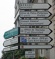 Road signs bilingual Breton in Quimper