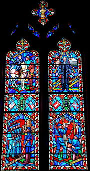 Stained glass of Lee's life in the National Cathedral, depicting his time at West Point, his service in the Army Corps of Engineers, the Battle of Chancellorsville, and his death