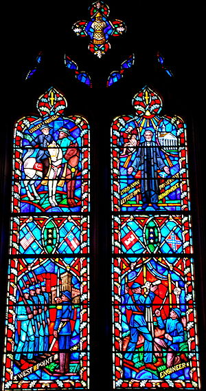 Stain glass of history of Robert E Lee in the ...