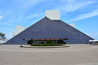 Rock and Roll Hall of Fame museum located on the shore of Lake Erie in downtown Cleveland, Ohio, United States