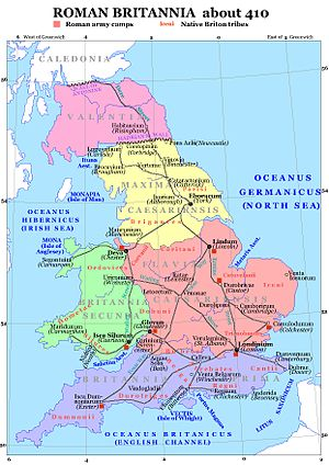 One possible arrangement of the late Roman provinces, with Valentia between the walls. Roman Britain 410.jpg