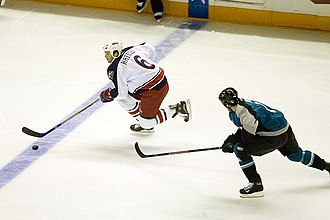 Ron Hainsey - Hainsey with the Columbus Blue Jackets in 2007. He was claimed off waivers by the Blue Jackets in 2005.