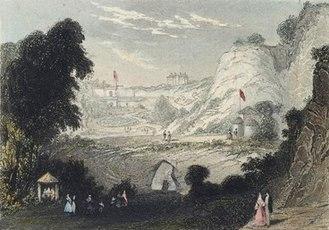 Rosherville Gardens - Colour engraving of Rosherville Gardens, 1841
