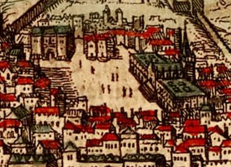 Hospital Real de Todos os Santos - 16th-century drawing of Rossio square. The All-Saints Royal Hospital is the large building at the right side of the square.