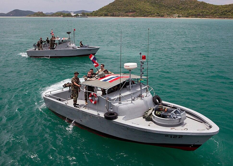 Royal Thai Navy Riverine Sailors on patrol boats