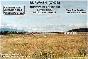 Burwash Airport - Image: Runway, Burwash Landing airport, Yukon
