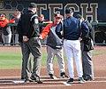 Russ Chandler Stadium Coach umpire meeting (12854181593).jpg