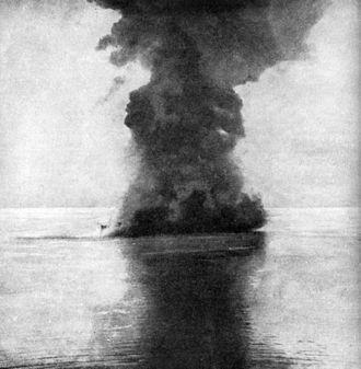 Battle of Chemulpo Bay - The gunboat Korietz burns after having been scuttled
