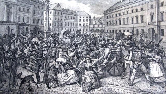 Soldats russes capturant des enfants polonais en 1831.