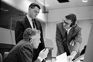 Glynn Lunney - Lunney (top left) with John Hodge and Jones Roach during Gemini 3
