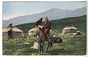 SB - Kazakh man on horse with golden eagle