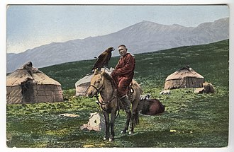 Central Asia - Kazakh man on a horse with golden eagle