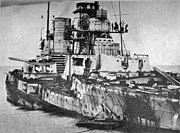 SMS Seydlitz was heavily damaged in the battle, hit by twenty-one heavy shells and one torpedo. 98 men were killed and 55 injured