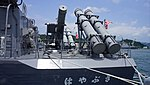 SSM-1B missile canister mounted on JS Hayabusa(PG-824) left front view at JMSDF Maizuru Naval Base July 27, 2014.jpg
