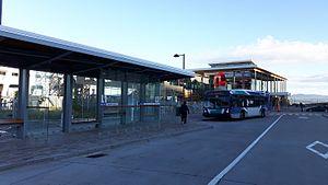 Société de transport de Lévis - A STLévis Nova Bus low-floor bus in Lévisien livery at the Ferry terminal in Lévis.