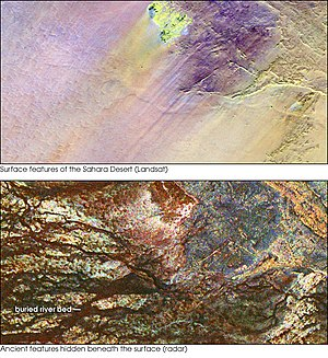Sahara - The top image shows the Safsaf Oasis on the surface of the Sahara. The bottom (using radar) is the rock layer underneath, revealing black channels cut by the meandering of an ancient river that once fed the oasis.