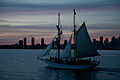 Sail training vessel Pathfinder, at dusk, off Toronto.jpg