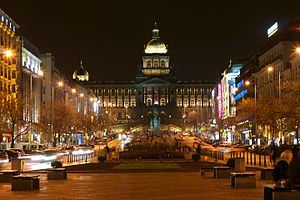 Wenceslas Square - The upper part of Wenceslas Square at night
