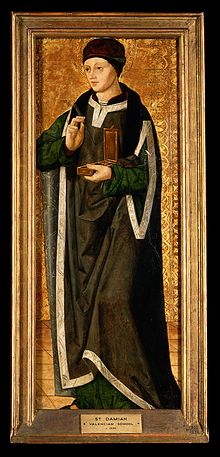 Saint Damian. Oil painting by the Artés Master, ca. 1500. Wellcome V0017391ER.jpg